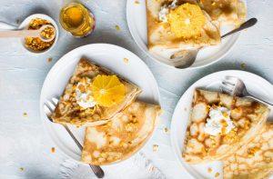 crepes de requesón y miel